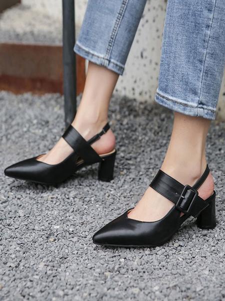 Milanoo Mid-Low Heels For Woman Elegant Pointed Toe Chunky Heel Slip-On Fantastic Buckle Ecru White Pumps Heels
