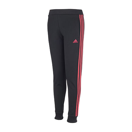 adidas Big Girls Mid Rise Cuffed Jogger Pant, Small (7-8) , Black