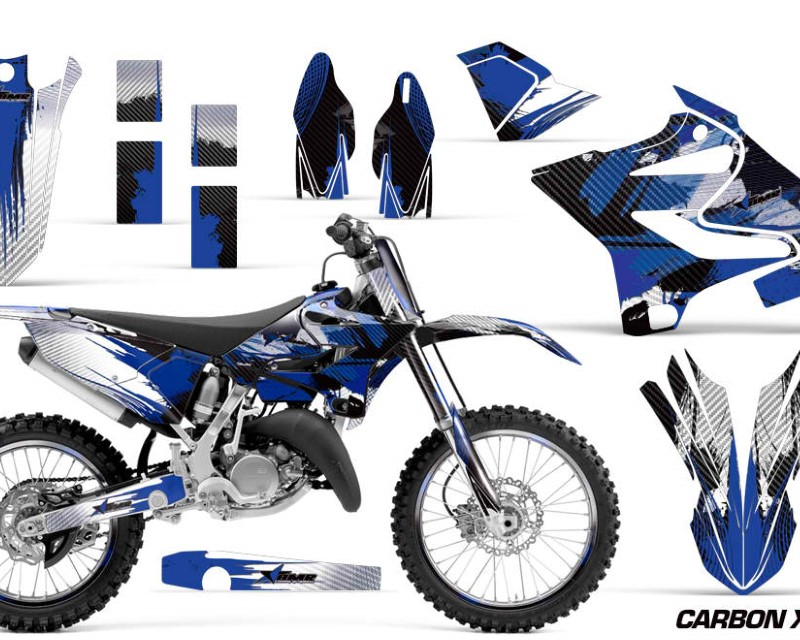 AMR Racing Graphics MX-NP-YAM-YZ125-YZ250-15-18-CX U Kit Decal Sticker Wrap + # Plates For Yamaha YZ125 YZ250 2015-2018áCARBONX BLUE