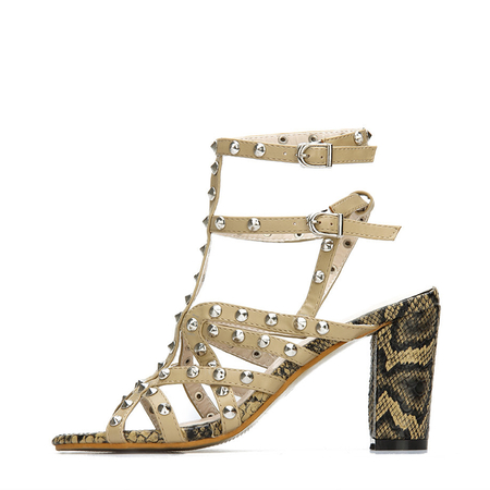 Yoins Leather Look Snake Print Heel Ankle Strap Studded Sandals