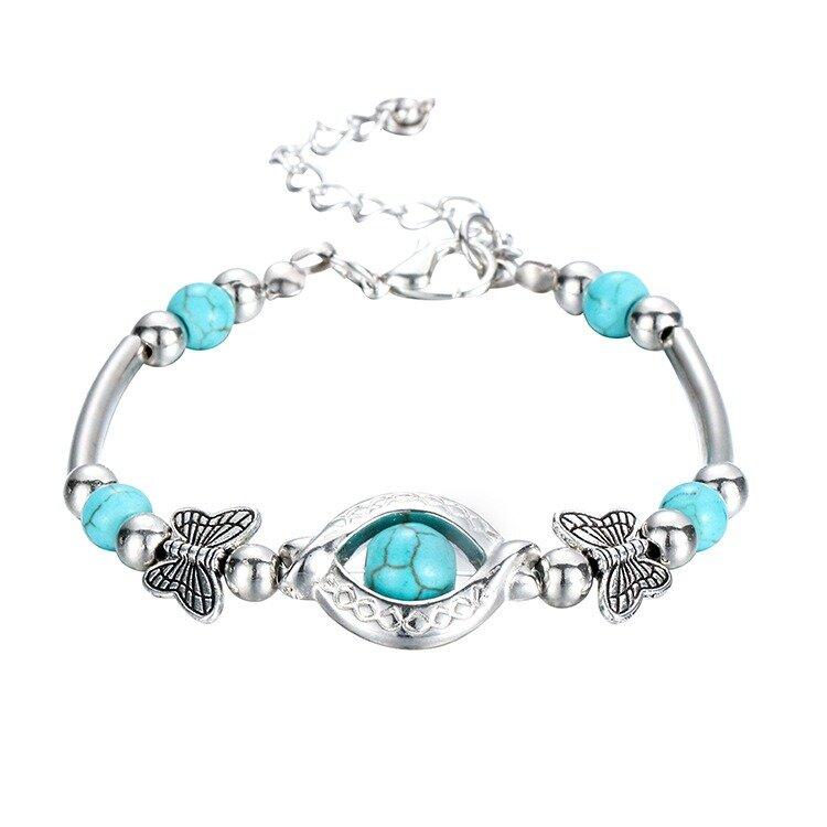 Trendy Turquoise Handmade Bracelet Sliver Beaded Bracelet For Women