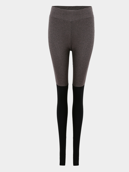 Yoins Grey & Black Elastic Yoga Leggings
