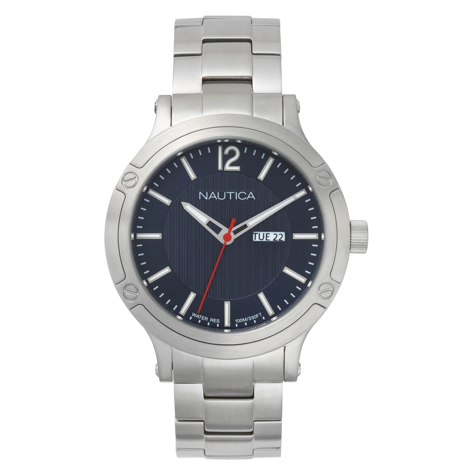 Nautica Watch NAPPRH019 Prh Porthole, Analog, Water Resistant, Calendar, Stainless Steel Band, 3 Hand Movement, Blue