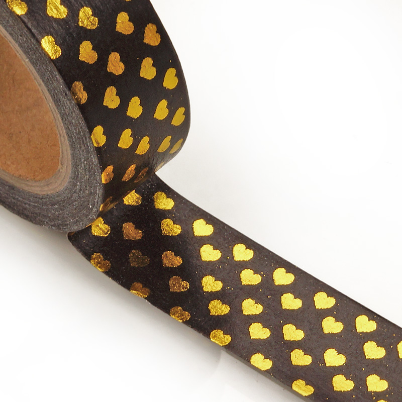 9/16 X 10 Yards Colored Black/Gold Metallic Heart Washi Tape by Ribbons.com