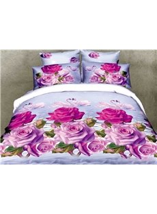 3D Pink Purple Roses and Couple Swans Printed Cotton 4-Piece Bedding Sets
