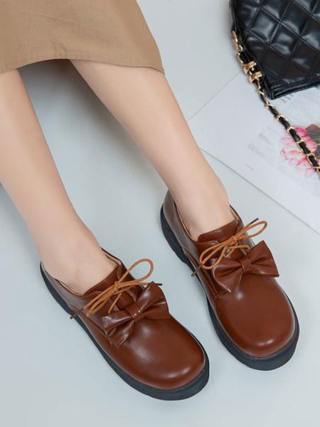 Milanoo Lolita Footwear Bows PU Leather Flat Lolita Pumps