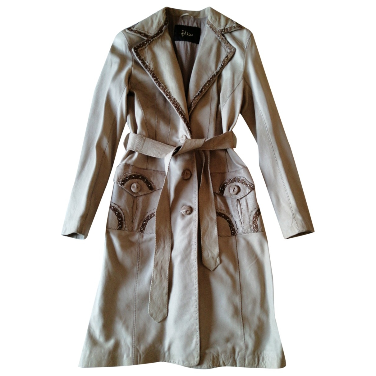 Non Signé / Unsigned \N Ecru Leather Leather jacket for Women 42 IT