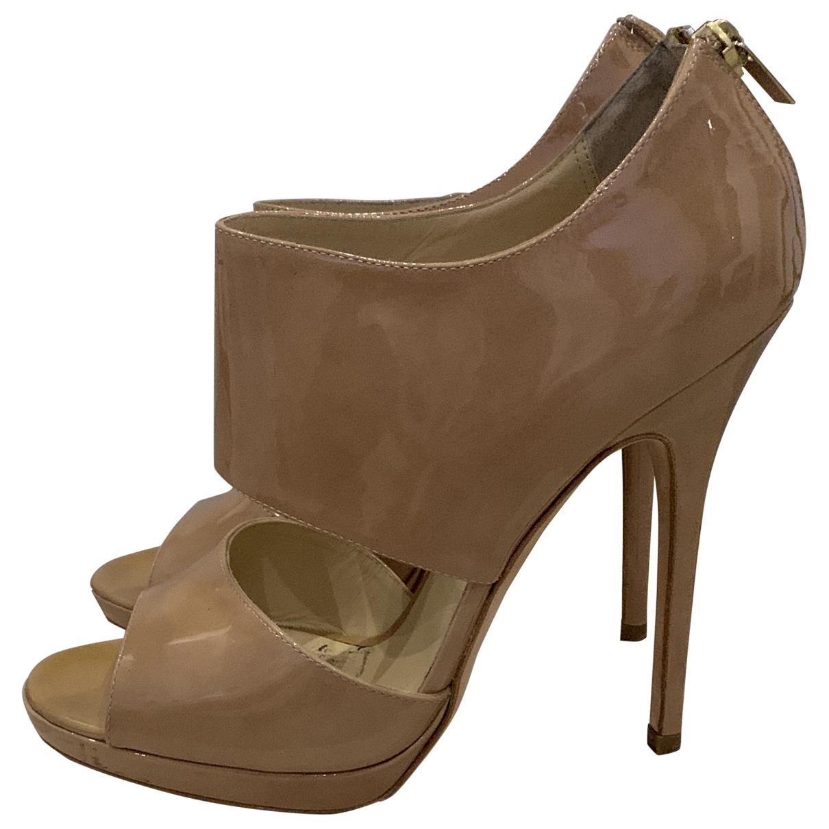 Jimmy Choo \N Beige Patent leather Sandals for Women 39.5 EU