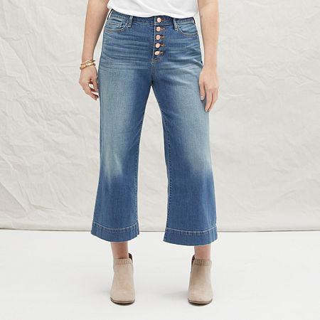 a.n.a Womens High Rise Wide Leg Cropped Jean, 12 , Blue