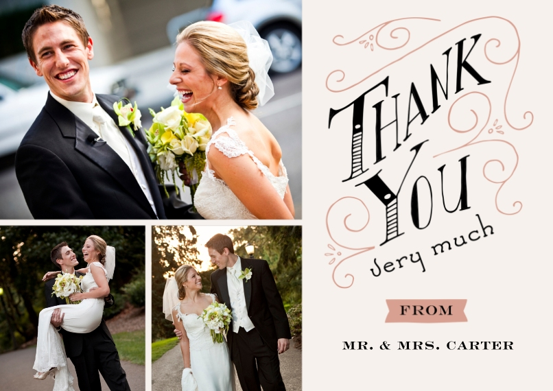 Wedding Thank You 5x7 Cards, Premium Cardstock 120lb, Card & Stationery -19th Century Nuptials Thank You