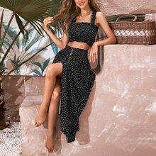 Frill Trim Shirred Polka Dot Top & Buttoned Split Front Skirt Set