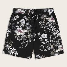 Men Drawstring Detail Botanical Print Shorts