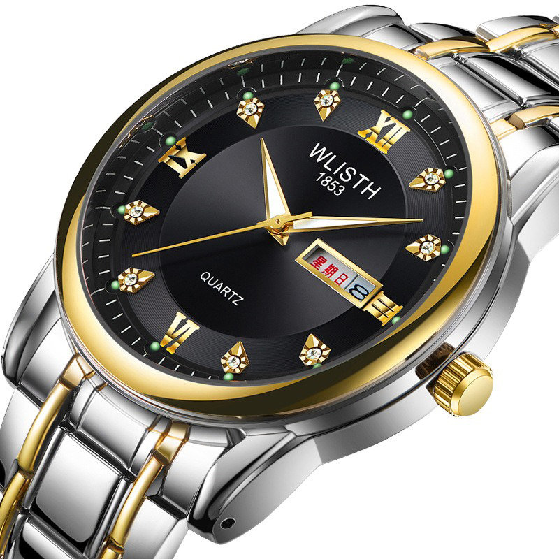 Business Luminous Quartz Watch Stainless Steel Men Waist Watch Double Calendar Watch
