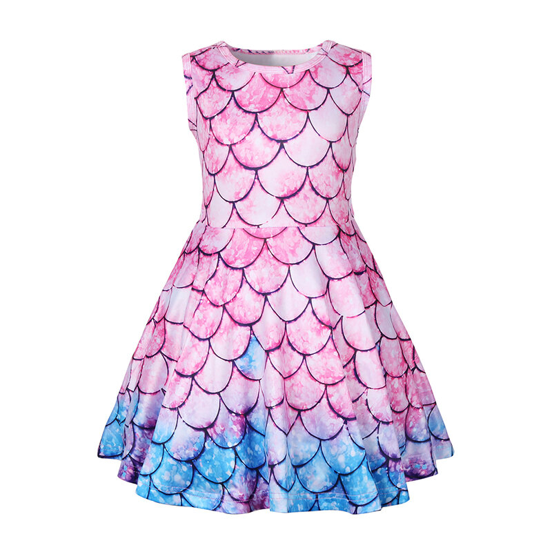 Colorful Mermaid Girls Cartoon Dress For 3-11Y