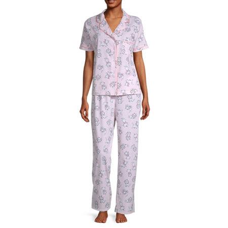 Womens Juniors Short Sleeve Pant Pajama Set 2-pc., Medium , Pink