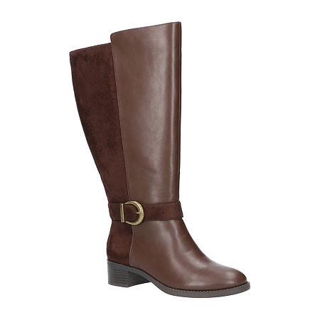 Easy Street Womens Victoria Plus Plus Booties Block Heel, 9 Wide, Brown