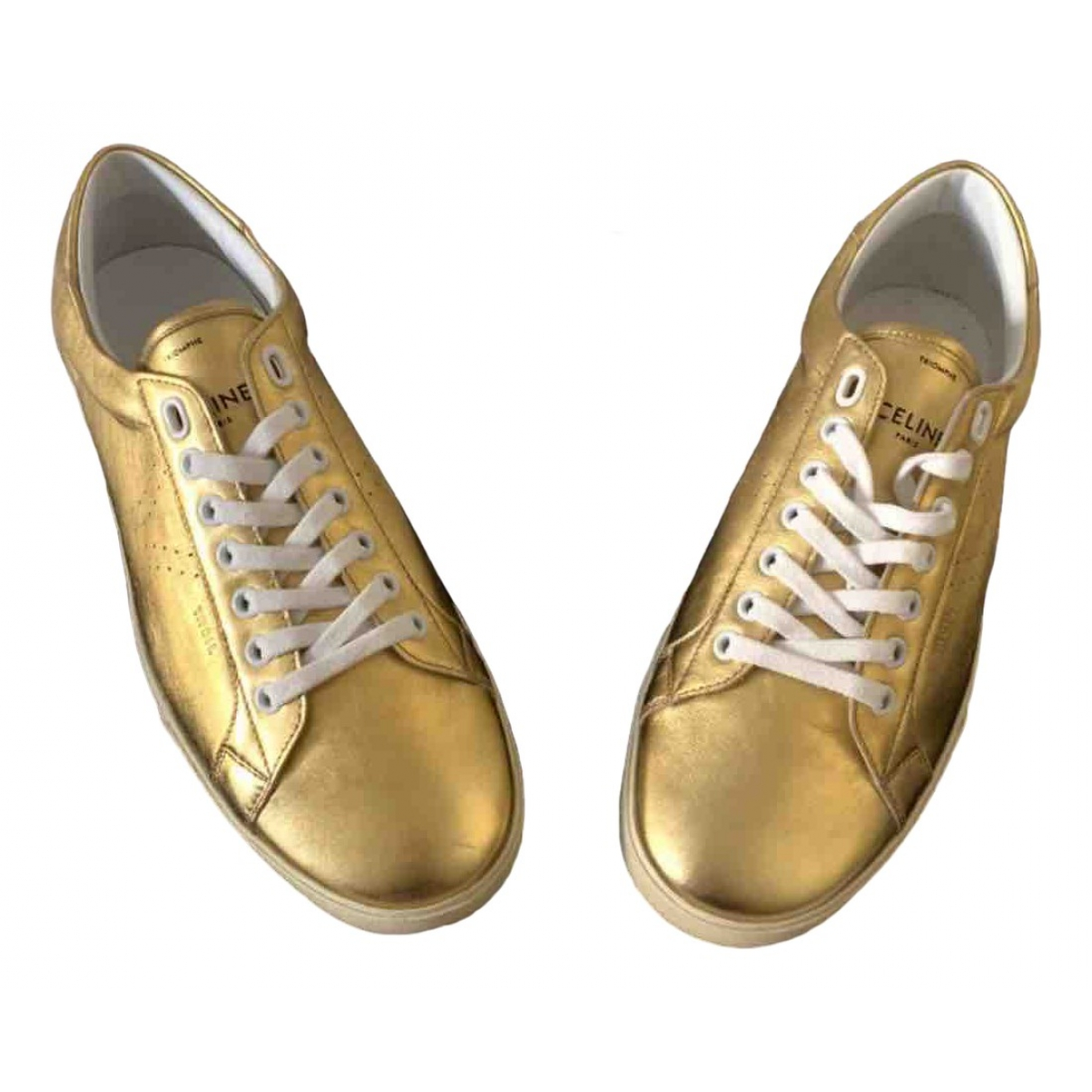 Celine Triomphe Gold Leather Trainers for Women 36 EU
