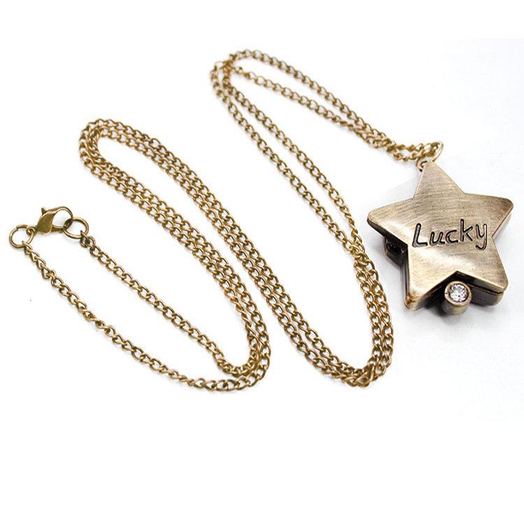 Retro Style Star Shape Pocket Watch Lucky Word Bronze Quartz Pocket Watch