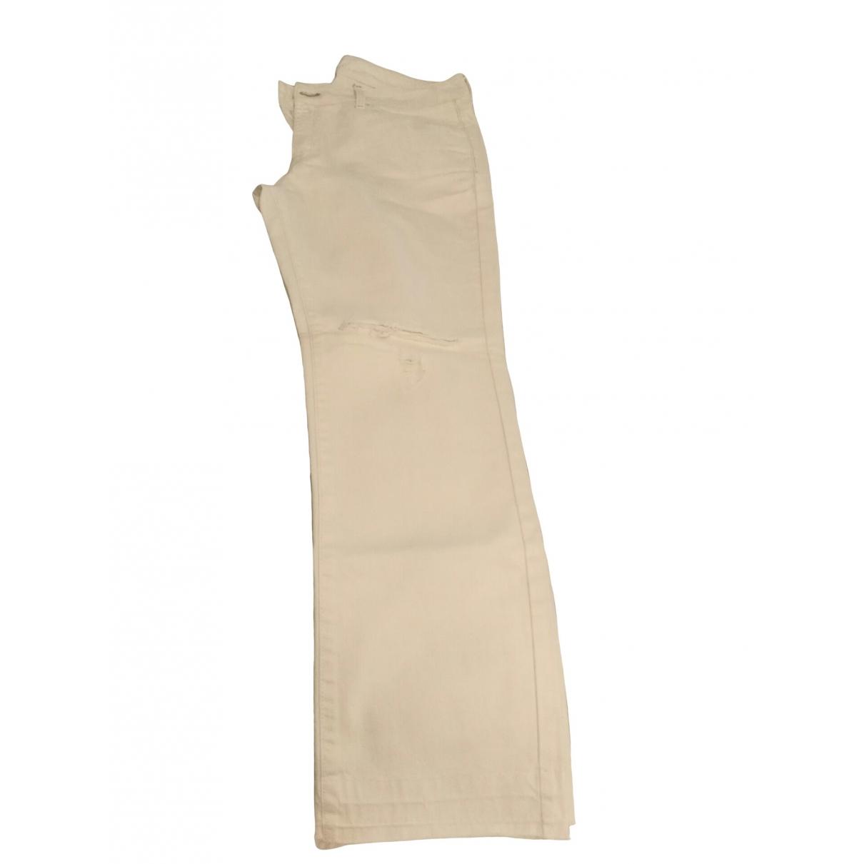 Mango \N Ecru Cotton Jeans for Women 38 FR