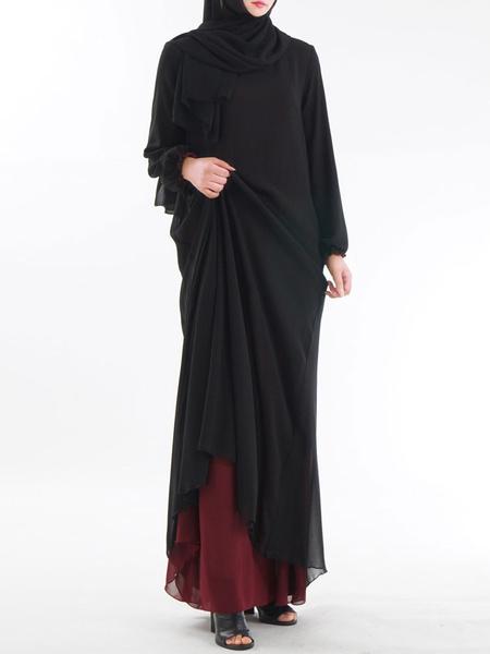 Milanoo Muslim Maxi Dress Long Sleeve Two Tone Women Kaftan Dress