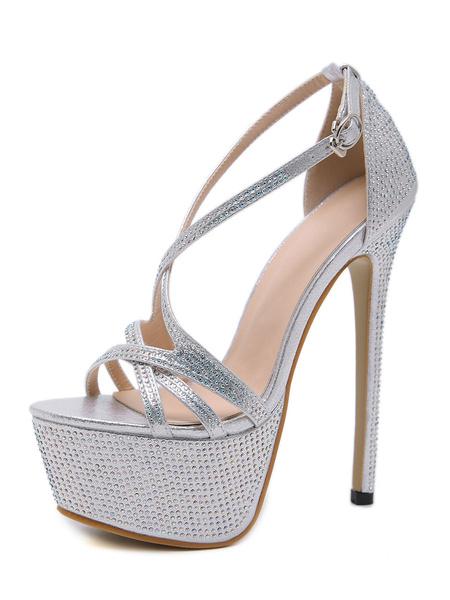 Milanoo Luxury High Heel Sexy Sandals Silver Platform 6.3 Stiletto Heel Sexy Shoes With Rhinestones