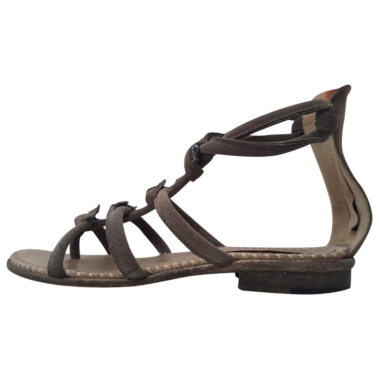 Non Signé / Unsigned \N Khaki Suede Sandals for Women 37 EU