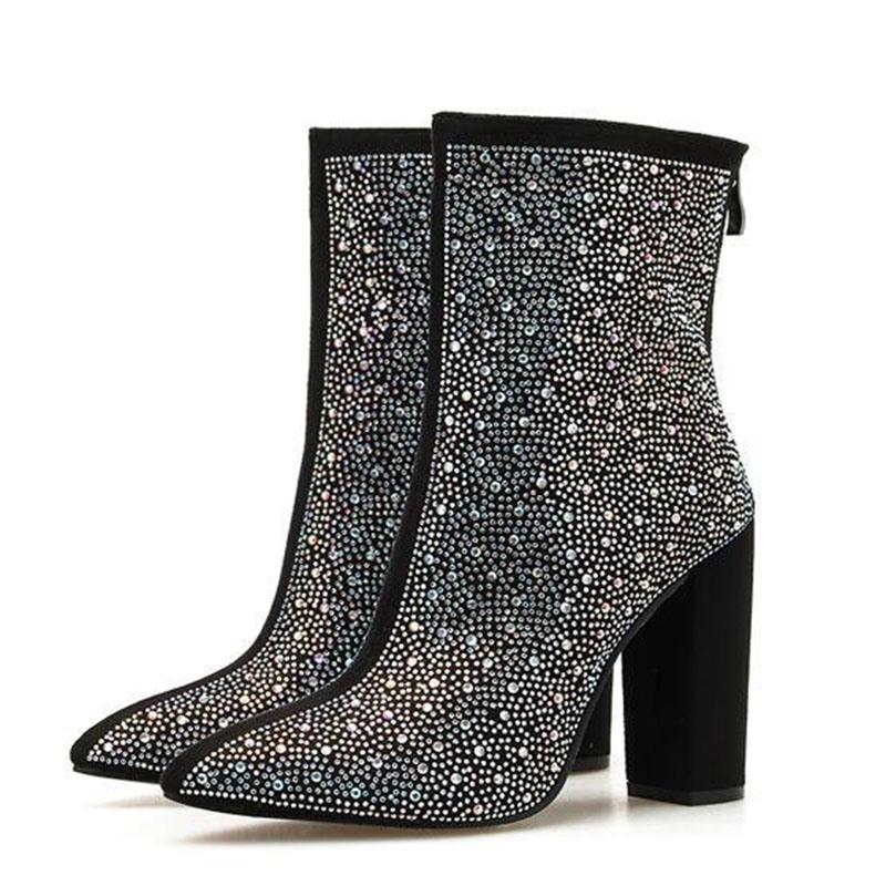Ericdress Chunky Heel Back Zip Pointed Toe Cotton Diamond Boots