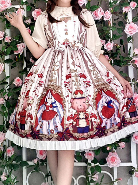 Milanoo Sweet Lolita JSK Dress Sugar Plum Fairy Printed Bow Lolita Jumper Skirts