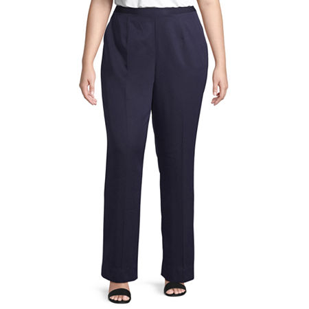 Alfred Dunner-Plus Ship Shape Womens Straight Flat Front Pant, 16w , Blue