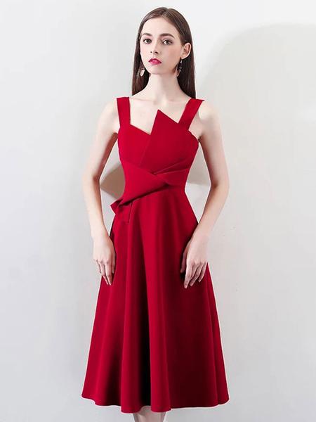 Milanoo Cocktail Dresses Satin A Line Tea Length Formal Party Dress