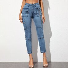 Flap Pocket Patched Paneled Jeans With Chain