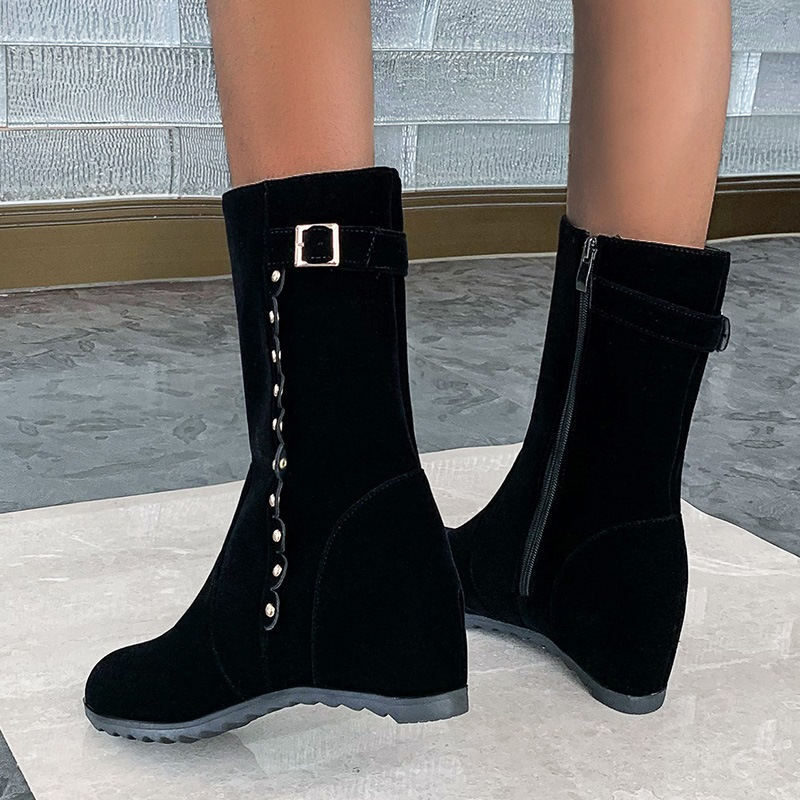 Ericdress Plain Round Toe Side Zipper OL Boots