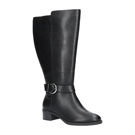 Easy Street Womens Victoria Plus Plus Booties Block Heel, 8 Wide, Black
