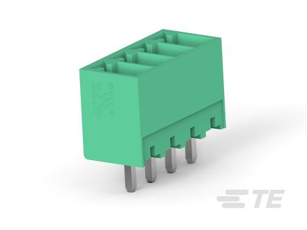 TE Connectivity 3.5mm Pitch, 4 Way PCB Terminal Block, Green (500)