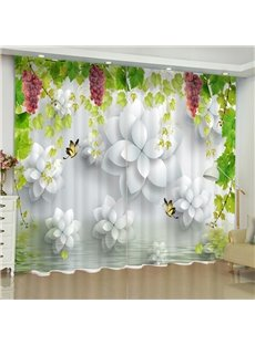 3D Purple Grapes and White Flowers Printed Fresh Style Custom Window Curtain