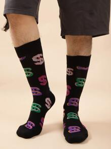 Guys Dollar Sign Print Socks