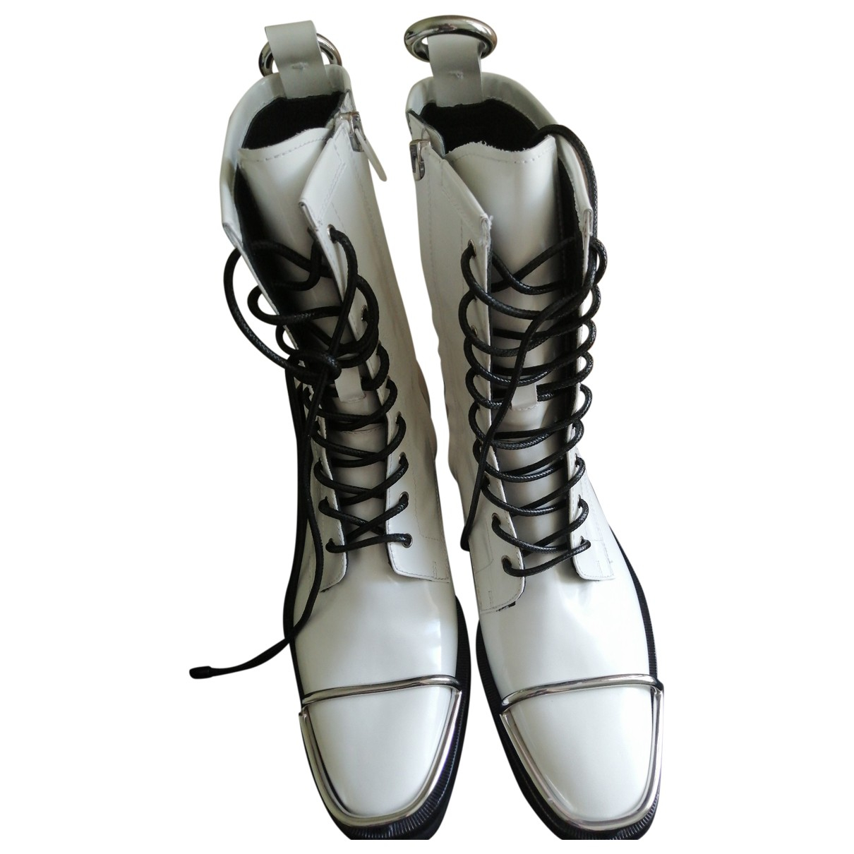 Alexander Wang \N White Patent leather Ankle boots for Women 40.5 EU