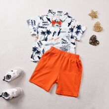 Toddler Boys Palm Tree Print Bow Detail Shirt & Track Shorts