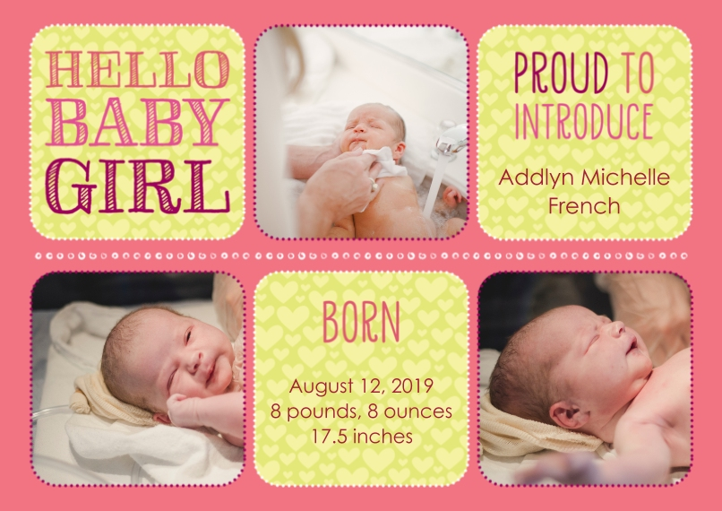Newborn 5x7 Cards, Premium Cardstock 120lb with Scalloped Corners, Card & Stationery -Hello Baby Girl Baby Announcement by Well Wishes