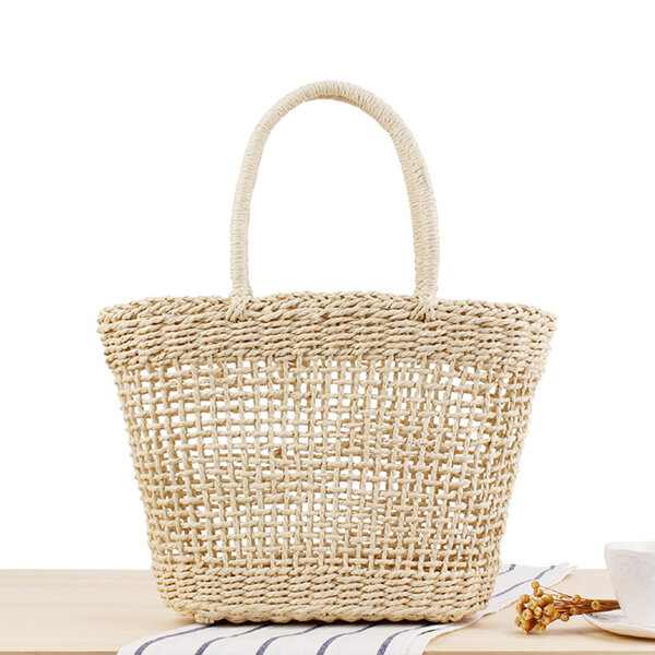 Women Portable Hollow Woven Handbag Travel Basket Tide Stylish Straw Bag