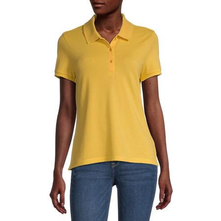 Arizona Juniors Womens Short Sleeve Knit Polo Shirt, Medium , Yellow