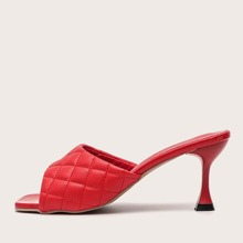 Quilted Wide Fit Heeled Mules