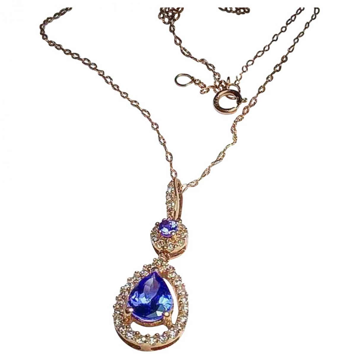 Non Signé / Unsigned \N Blue Pink gold pendant for Women \N