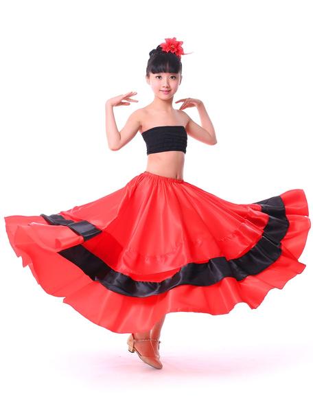 Milanoo Kids Dance Costumes Gypsy Flamenco Ballroom Dress Red Long Kids Flamenco Paso Doble Dresses Spanish Skirt for Girls Halloween