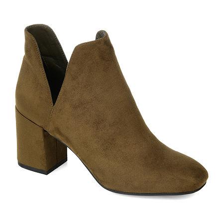 Journee Collection Womens Gwenn Block Heel Booties, 6 1/2 Medium, Green