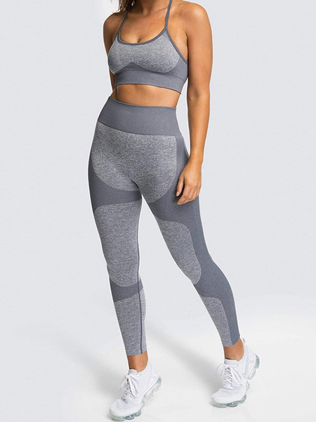 Milanoo Two Piece Tracksuit Grey Nylon Athletic Women Workout Outfit
