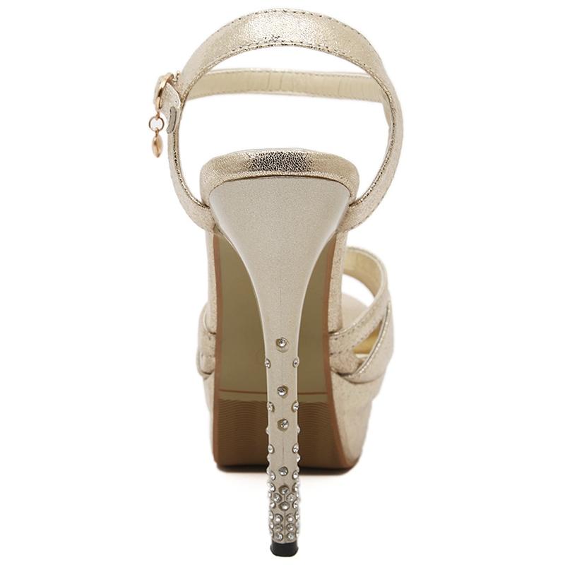 Elegant Peep-toe Ankle Strap Stiletto Sandals