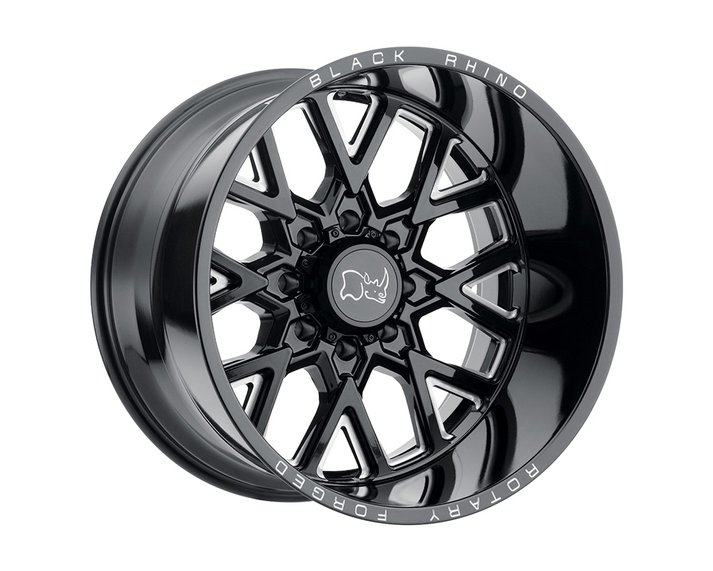 Black Rhino Grimlock Wheel 22x14 8x170 -76mm Gloss Black w/Milled Spokes