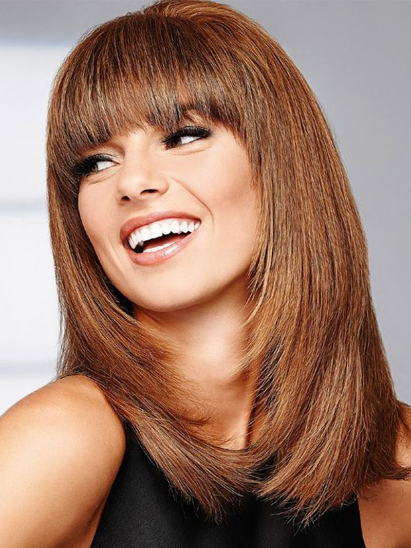 Ericdress Women's Long Length Bob Hairstyles Brown Color Straight Synthetic Hair Wigs With Bangs Capless Wigs 20Inch