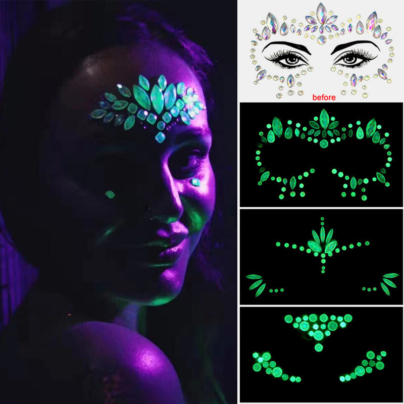 Face Sticker Diamond Halloween Ghost Face Sticker Luminous Crystal Diamond Eyebrow Sticker Diamond
